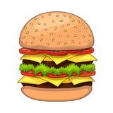Cartoon tasty big hamburger with cheese and sesame seeds. Vector sticker icon Stock Images