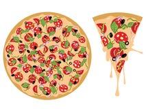 Cartoon Tasty Pizza Stock Images