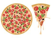 Cartoon Tasty Pizza Royalty Free Stock Photos