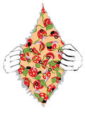 Cartoon Tasty Pizza and Hands Stock Images