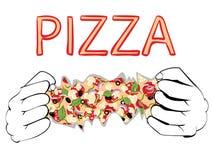 Cartoon Tasty Pizza and Hands Royalty Free Stock Photos