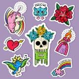 Cartoon Tattoo Stickers Set Stock Photo