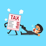Cartoon tax letter dragging businessman. For design Royalty Free Stock Photos