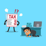 Cartoon tax letter finding businessman. For design Royalty Free Stock Image