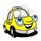 Cartoon taxi car. The cartoon taxi car on the street Royalty Free Stock Photography