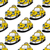 Cartoon taxi character seamless pattern Stock Photography