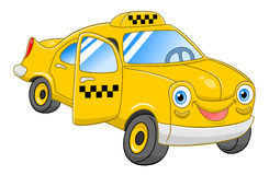 Cartoon taxi. Cartoon cute taxi with open door isolated on white background Royalty Free Stock Photography
