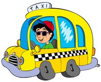 Cartoon taxi driver Stock Images