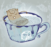 Cartoon tea bag in cup Stock Images