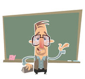 Teacher presenting in front of a blackboard Stock Photo