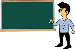 Cartoon teacher and blackboard Stock Images
