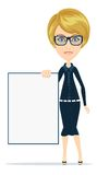 Cartoon teacher or businesswoman explaining and Royalty Free Stock Photos