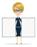 Cartoon teacher businesswoman in glasses holding Stock Photos