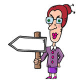 Cartoon teacher with pointer Stock Photo