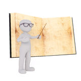 Cartoon Teacher Pointing to Page in Large Old Book Royalty Free Stock Image