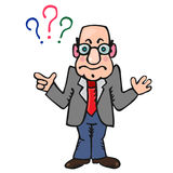 Cartoon teacher with questions Royalty Free Stock Photography
