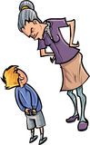 Cartoon teacher scolding a child. Isolated Royalty Free Stock Images