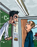 Cartoon of teacher screaming at a pupil Stock Photo