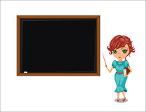 Cartoon teacher woman near blackboard. Royalty Free Stock Photo