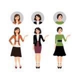 Cartoon teacher women set Stock Photos