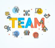 Cartoon Team Concept Card Poster. Vector. Cartoon Team Concept Card Poster Paper Art Design with Outline Icons Include of People, Teamwork, Handshake Stock Images