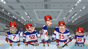 Cartoon team with five funny hockey players on the ice. On the rink Stock Images