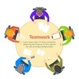 Cartoon Team Meeting Table Card Poster. Vector Stock Photo