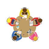 Cartoon Team Meeting. Vector Stock Photography