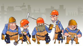 Cartoon team of men in helmets and clothing workers-builders Stock Image
