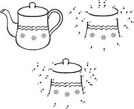 Cartoon teapot. Vector illustration. Coloring and dot to dot gam Stock Photography