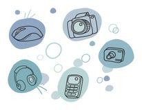 Cartoon technic icons. Vector illustration Royalty Free Stock Photos