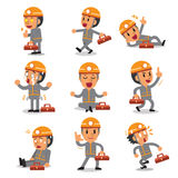 Cartoon technician character poses. For design Stock Photos