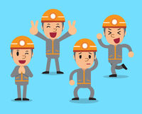 Cartoon technician character poses set. For design Stock Photo