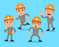 Cartoon technician character poses set. For design Stock Images