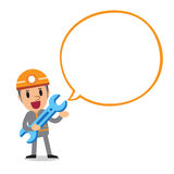 Cartoon a technician character with white speech bubble. For design Stock Photo