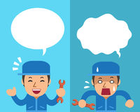 Cartoon a technician expressing different emotions with speech bubbles. For design Royalty Free Stock Image