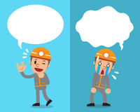 Cartoon technician expressing different emotions with speech bubbles. For design Stock Photos