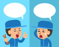 Cartoon technician expressing different emotions with speech bubbles. For design Royalty Free Stock Images