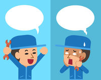 Cartoon a technician expressing different emotions with speech bubbles. For design Stock Photo