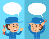 Cartoon technician expressing different emotions with speech bubbles. For design Stock Photo