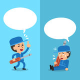 Cartoon a technician expressing different emotions with white speech bubbles Stock Images