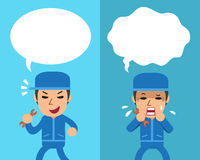 Cartoon technician expressing different emotions with white speech bubbles. For design Stock Images