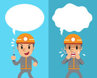 Cartoon a technician expressing different emotions with white speech bubbles Royalty Free Stock Photos