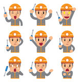 Cartoon technician faces showing different emotions. For design Stock Photos