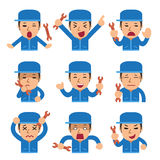 Cartoon a technician faces showing different emotions. For design Royalty Free Stock Photos