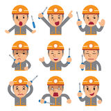 Cartoon technician faces showing different emotions. For design Stock Images