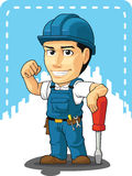 Cartoon of Technician or Repairman. A vector image of a male repairman with screw driver. Drawn in cartoon style, this vector is very good for design that need Royalty Free Stock Photos
