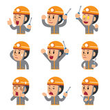 Cartoon technician showing different emotions. For design Stock Photography