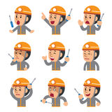 Cartoon technician showing different emotions set. For design Stock Photo