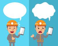 Cartoon technician with smartphone expressing different emotions with speech bubbles. For design Royalty Free Stock Photo
